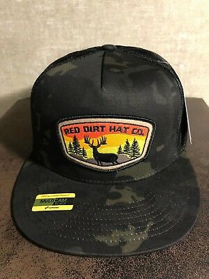 1103e82f83c Red Dirt Black Camo Deer Tag Hunting Patch Hat SnapBack Trucker
