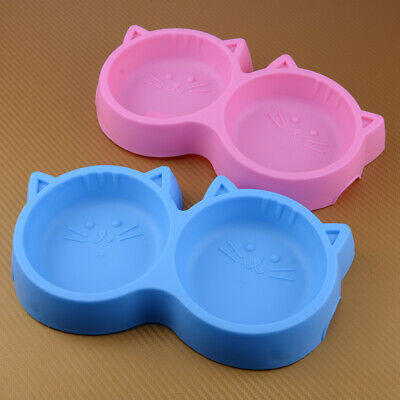 Dark Blue Double Cat Bowl Non Slip 6 Colours Feeder Water Feeding Bowls Kittens Pets /& Dogs 0.33l