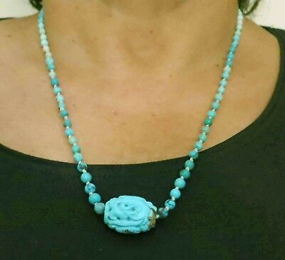 """Vintage Antique Chinese Shou Dragon Carved Natur Turquoise Beads Necklace 22"""""""