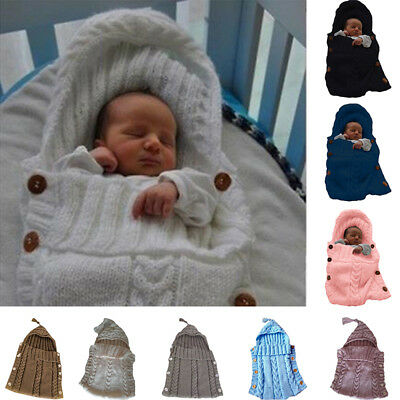 Newborn Baby Boys Girls Knitted Blanket Sleeping Bag Sleepsacks Swaddle Wrap