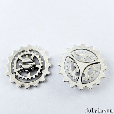 Antique Silver Alloy Hollow Gear Wheel Charms Crafts Pendants Findings 28x 50910
