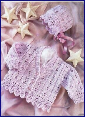 Baby Children Cardigan & Bonnet Knitting Pattern copy Eyelet & Scallop Border