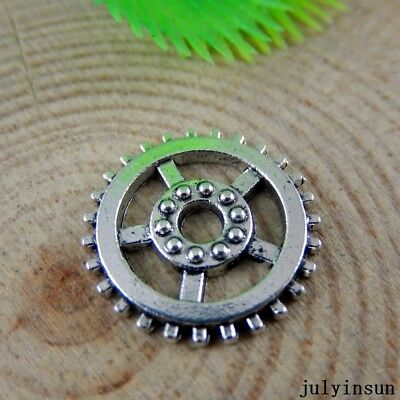 Antique Silver Alloy Hollow Gear Wheel Charms Crafts Pendants Findings 40x 50893