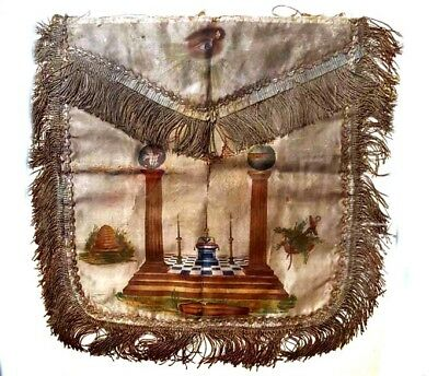 MASONIC Rare ANTIQUE Post Revolution 1780s PAINTED APRON Symbols PROFOUND MYSTIC