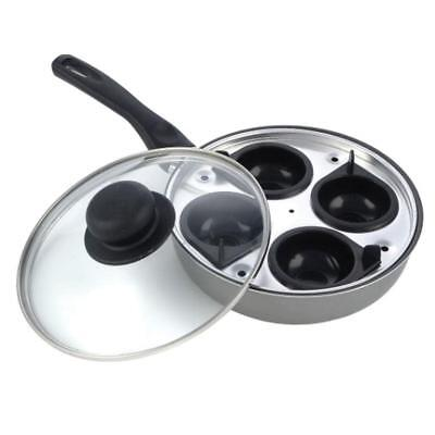 4 Hole Egg Poaching Pan Non-stick Lidded Saucepan - 20cm