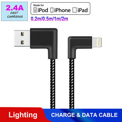 Braided 90 Degree Right Angle USB Charger lightning Cable Apple iPhone iPod iPad