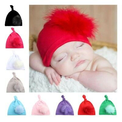 Newborn Toddler Kid Baby Boy Girl Knotted Cap Cotton Beanies Hat With Plush Ball