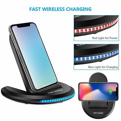 Qi Wireless Charger Fast Charging Stand Dock For iPhone 8 XS XR Samsung S10 S9+