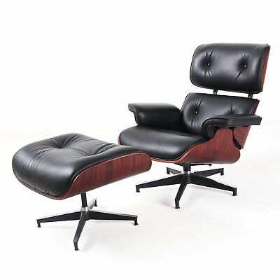 Eames Lounge Chair 100% Top Grain Italian Black Leather Rosewood - Genuine HOT E