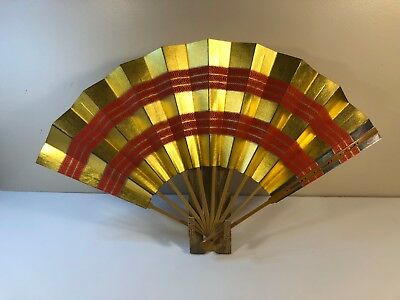 Japanese Dance Folding Fan Gold Red Wave /Made in Japan