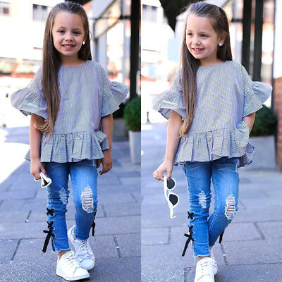 TODDLER KIDS GIRLS Denim Outfit T shirt Tops+Ripped Jeans ...