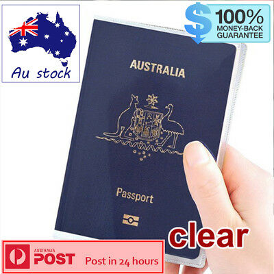 Passport Cover Transparent Clear Protector Travel Holder Organiser Carry x2