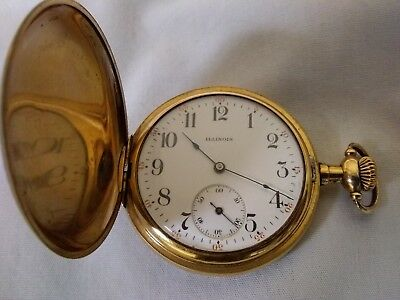 Antique 1913 ILLINOIS 11J Jewel Hunter POCKET WATCH w die engraved case