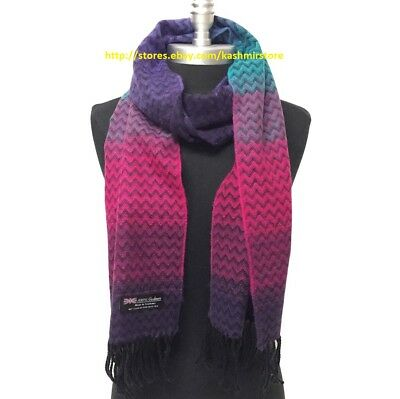 New 100%CASHMERE SCARF Chevron RAINBOW Pink Purple Turquoise  SCOTLAND Soft Wrap