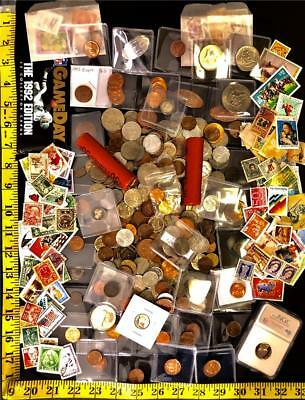 1250+World Coin Lot Including US Coins Many Bonuses-Silver Coin-Stamps-Type Coin