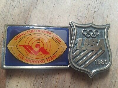 Lot of (2) VINTAGE 1980s USA Olympics BRASS Belt Buckles Commemorative