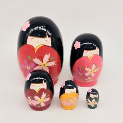 5Pcs Little Girl Russian Nesting Dolls Kids Gift Toy Matryoshka Doll Collections