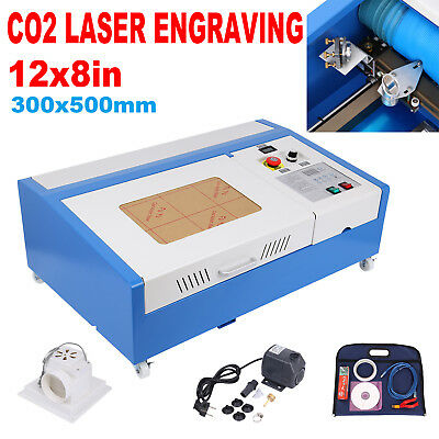 40W CO2 USB Port Laser Engraving Engraver Cutter Woodworking 300x200mm 4 Wheels