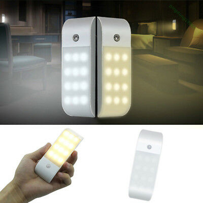 12 LED Motion Sensor Lamp Under Cabinet Kitchen Home USB Rechargeable Light NEW