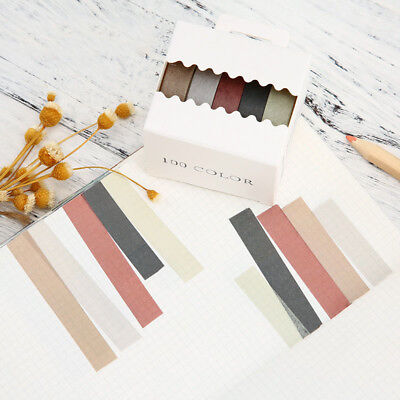 5pcs Solid Color DIY Paper Sticky Adhesive Sticker Decorative Washi Tape
