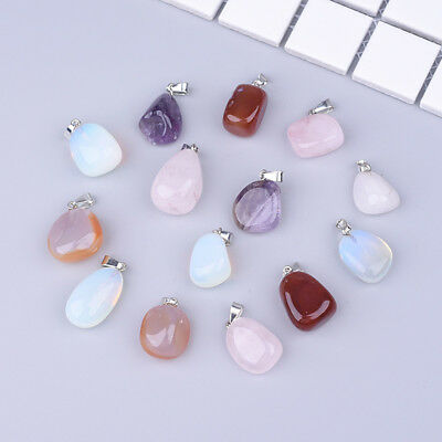 Natural Crystal Stone Irregular Pendant Charms Mixed Colour Jewelry Making DIY