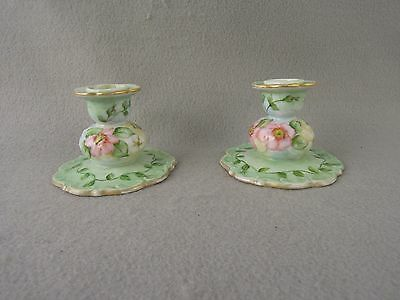 Porcelain Candlestick holders Signed  hand painted Floral Pastels