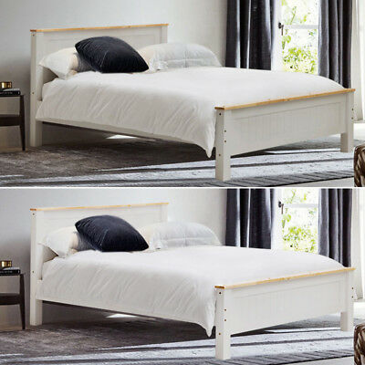 Modern Solid Wooden Bed Frame Single Double King Size Children Adults White Grey