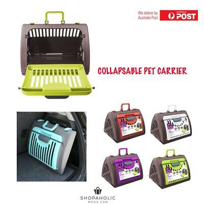 Plastic Dog Crate Portable Cat Carrier Travel Cage Kennel Foldable Collapsable
