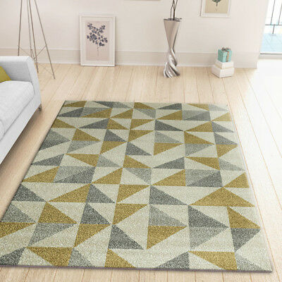 Geometric Rug Modern Cream Gold Silver Grey Carpet Living Room Mat Small X Large