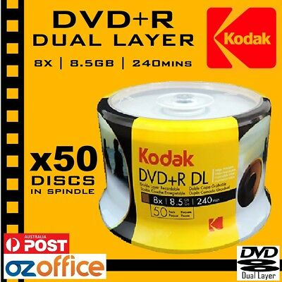 PREMIUM 50 x Kodak DVD+R DL 8.5GB Dual Layer 8X Blank DVD White Inkjet Printable