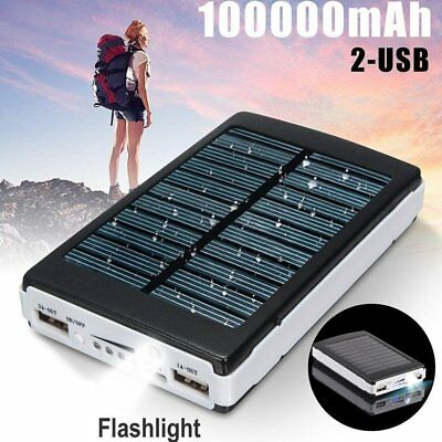 100000mAh Solar Power Bank 2-USB Battery Portable Charger For Mobile Phone iPad