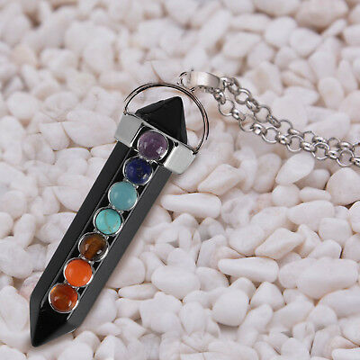 Black Tourmaline 7 Chakra Pendant Chain Necklace 7 Healing Crystal Gemstones UK