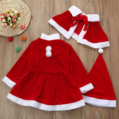 Kids Baby Girls Christmas Clothes Costume Party Dresses Shawl Hat Outfit P6