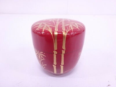 3920289: Japanese Tea Ceremony / Red Lacquered Tea Caddy / Bamboo Natsume