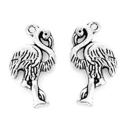 10 x Flamingo Bird Double sided Charms, Antique Silver tone  (23 x 13mm)