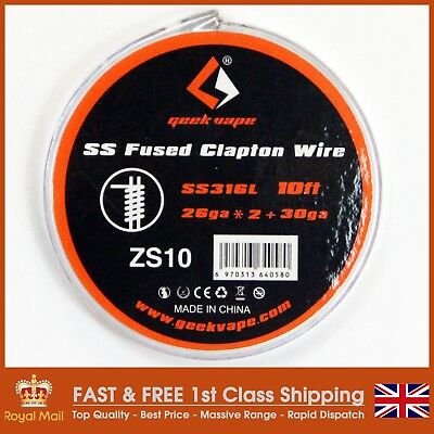 SS316L Fused Clapton (26AWG x 2 + 30 AWG) 3 Metre (10') Spool by GeekVape