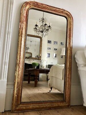 Large Antique French 19th Century Gilt Mirror -  Original Glass