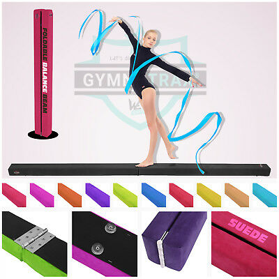 7FT - 8FT Gymnastics Folding Balance Beam Hard Wearing Suedine Home Gym Training