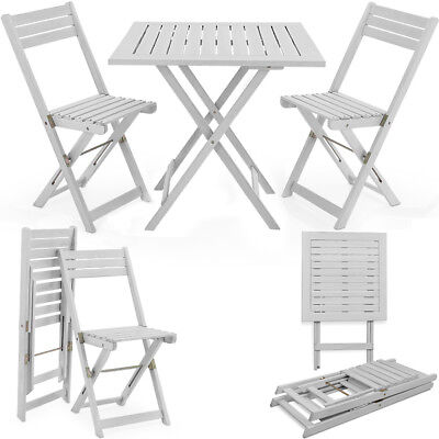 Salon De Jardin Bois Ensemble Table 2 Chaises Pliant Manger Balcon Set Pliable