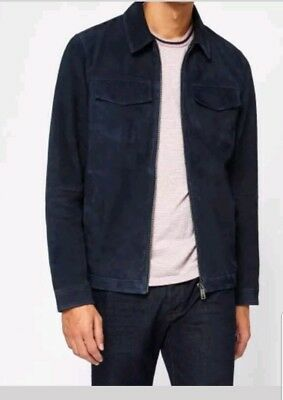 71841b07be309 Ted Baker Nusuede Suede Harrington Jacket BNWT Rrp£399 Size 2 Small Navy