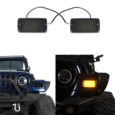 A pair Turn Signals w/ Amber Lights 12V Black Housing For Jeep Wrangler TJ 97-06