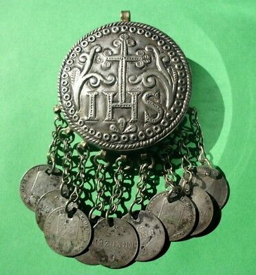 19th CENTURY SILVER CHRISTIAN PENDANT WITH 9 SILVER COINS FROM 1849 -RARE