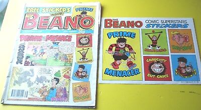 Beano comic No 2514  september 22nd 1990 free gift sheet of  stickers dennis ect