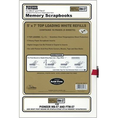 "Pioneer Post Bound Top-loading Page Protectors 5/pkg-5""x7"" (w/white Inserts)"