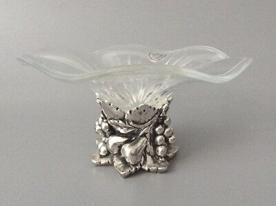 Sterling Silver and Glass Italian Tazza Pedestal dish 925 Silver