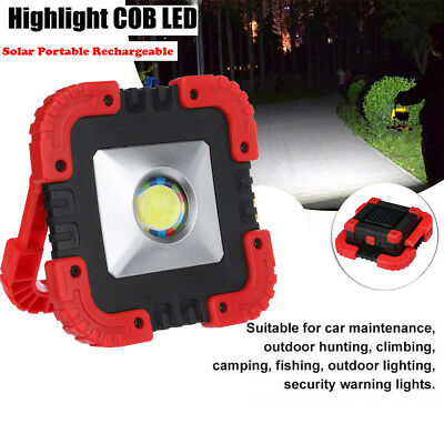 Portable 30W Solar USB Rechargeable COB LED  Flood Camping Work Lights Lamps