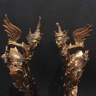 Pair Of Old Highly Decorative Burmese Brass Dance Figures - Free UK Postage