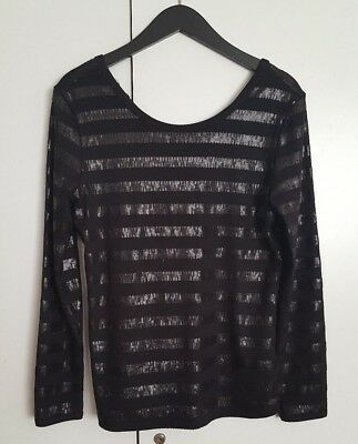 Nwt A.x. Armani Exchange Women's Long Sleeve Sequin Striped Top Black L $79.50