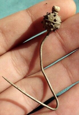Intact Ancient Celtic Silver Hair - Dress Pin With Bead - 200/100 Bc - Rare