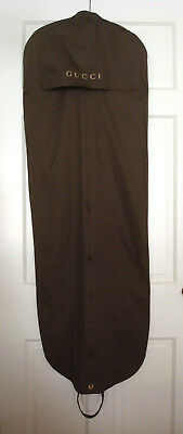 """GUCCI Dress Garment Bag Brown Cotton 54"""" Long Front Zip 2 Handles Made in India"""
